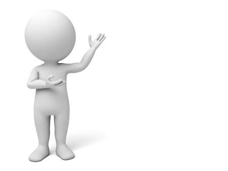 3d people showing something. 3d image. Isolated white background.