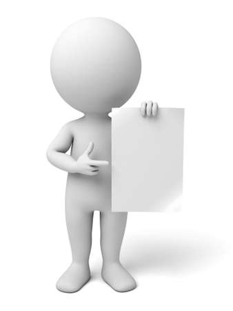 3d people with an empty paper in hands. 3d image. Isolated white background. Stockfoto