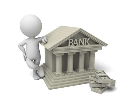 financial symbol: 3d people with bank building. 3d image. Isolated white background.