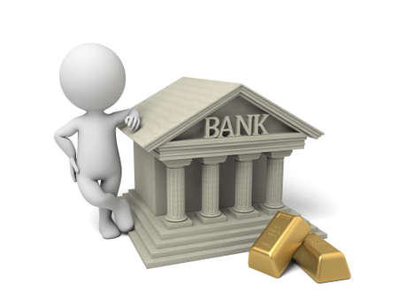 credit crisis: 3d people with bank building. 3d image. Isolated white background.