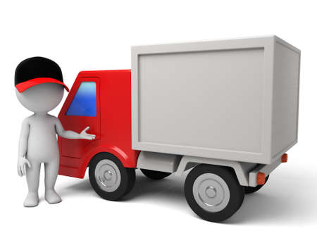 3d people with a delivery truck., shipments and free delivery. Stock Photo - 42646810