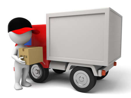 3d people with a delivery truck., shipments and free delivery. Stock Photo - 42646811