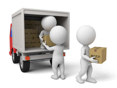 3d people with a delivery truck., shipments and free delivery.