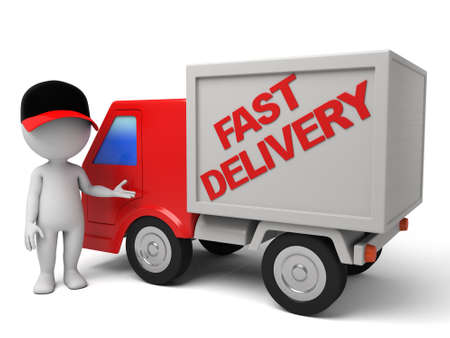 3d people with a delivery truck., shipments and fast delivery