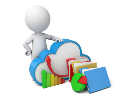 security man: 3d people with cloud symbol. Cloud computing concept. 3d image. Isolated white background