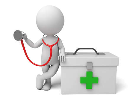 3d people with first aid box and a stethoscope. Doctor. 3d image. Isolated white background.