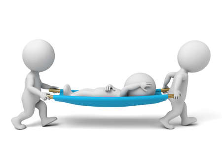 emergency stretcher: Two 3d people carrying the patient. 3d image. Isolated white background. Stock Photo