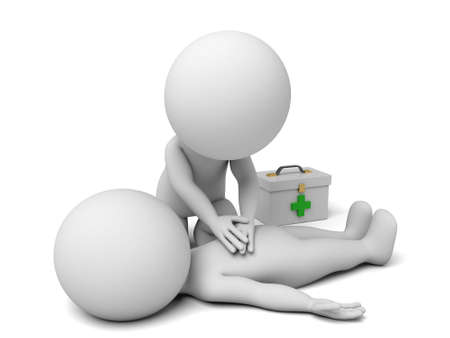 at first: 3d people providing first aid support. 3d image. Isolated white background.