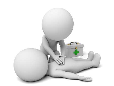 primeros auxilios: 3d personas que prestan apoyo de primeros auxilios. Imagen en 3D. Fondo blanco aislado.