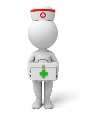 3d nurse: 3d nurse with a medical box. 3d image. Isolated white background.