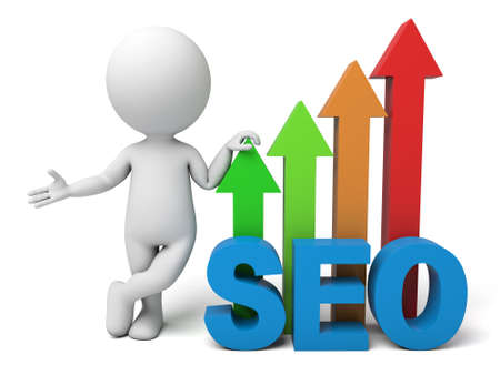 3d people with the word SEO. 3d image. Isolated white background.