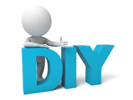 3d mensen met het woord DIY. 3D-beeld. Geïsoleerde witte achtergrond. Stockfoto