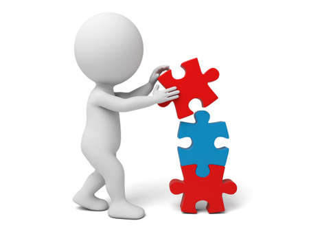 gente exitosa: Pequeña persona 3d con algunos puzzles. Imagen en 3D. Fondo blanco aislado