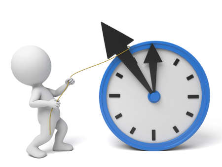 3d people with a clock. 3d image. Isolated white background.