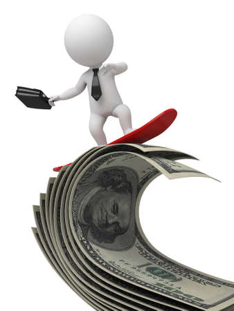funny surfer: 3d people surfer on a wave of cash. 3d image. Isolated white background.