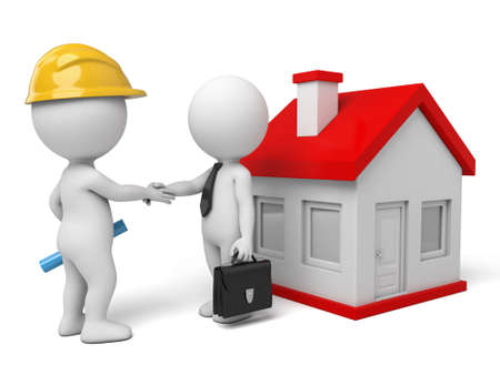 house illustration: 3d people shaking hand by a house. 3d image. Isolated white background Stock Photo