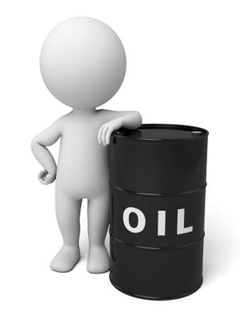 collapsed: 3d people with a barrel of oil. 3d image. Isolated white background
