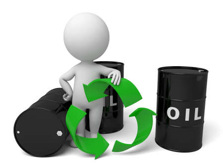 3d people with a barrel of oil. 3d image. Isolated white background