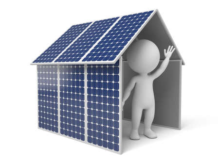 energy grid: 3d white people. House with solar panel. 3d image. Isolated white background. Stock Photo