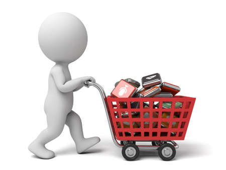 shopping cart icon: 3d people with a shopping cart and some app icons Stock Photo