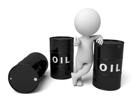 3d people with some barrels of oil