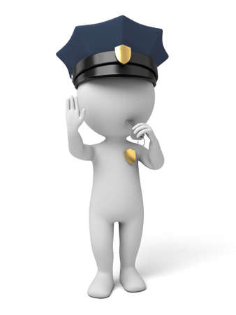 patrolman: 3d policeman making stop sign