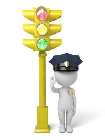 patrolman: 3d policeman making stop sign by a traffic light