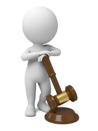 3d people with a wooden gavel Stock Photo