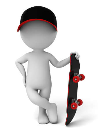 people: 3d people on a skateboard