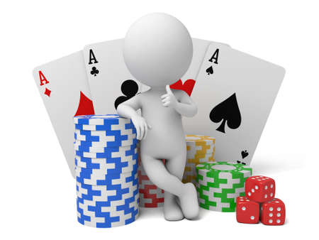 gambling counter: 3d people with some cards chips and dices