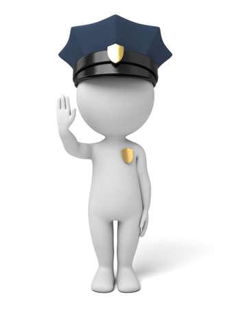 gorra policía: Toma de policía 3d señal de stop Foto de archivo