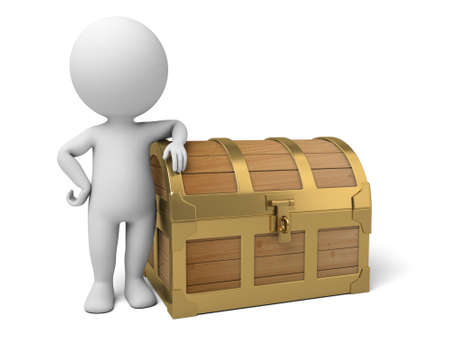 3d people with a treasure chest