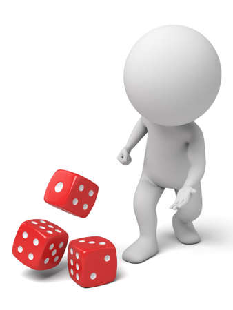 win: 3d people standing with some dice