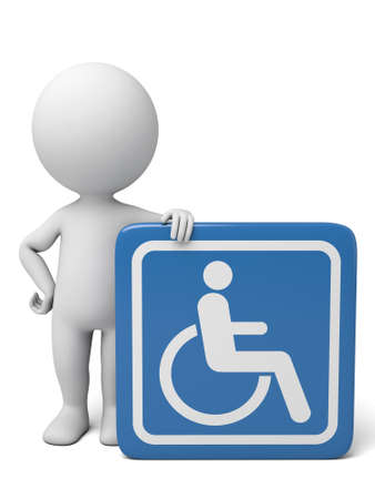 disabled parking sign: 3d people with a signboard of wheelchair