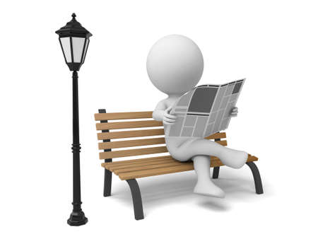 person reading: 3d people sitting on a chair in park