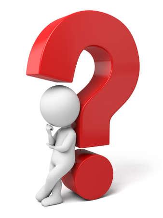 3d petite personne qui réfléchit avec un gros point d'interrogation