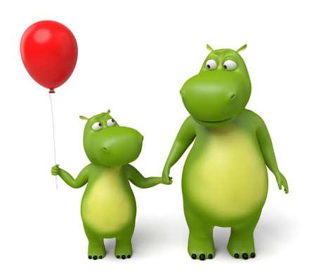 dinosaurio caricatura: Animal del dibujo animado 3d de los padres con los ni�os Foto de archivo