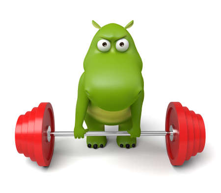3d cartoon animal weightlifting Stock Photo