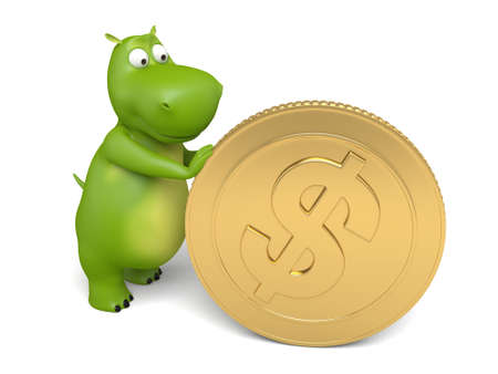 increment: 3d cartoon animal with a big coin