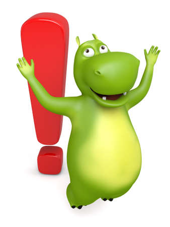 3d cartoon animal with a exclamation mark