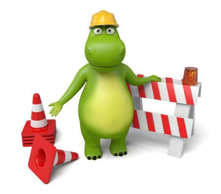 roadwork: 3d cartoon animal with a roadblock