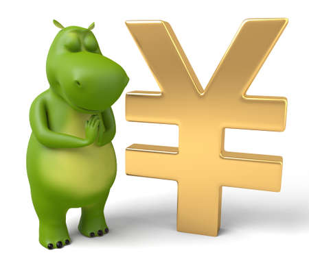 currency symbol: 3d cartoon animal with a Yen currency symbol