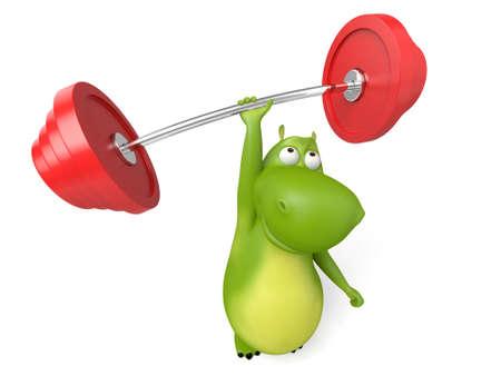 heavy: 3d cartoon animal weightlifting Stock Photo