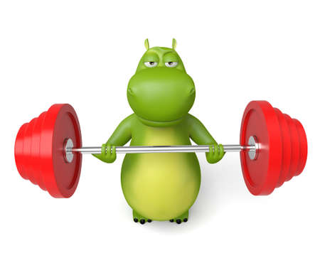 3d cartoon animal weightlifting, 3d image. Isolated white background Stock Photo