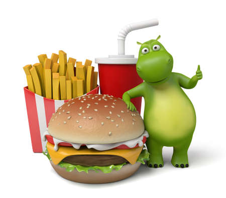 fry: 3d cartoon animal with some fast food