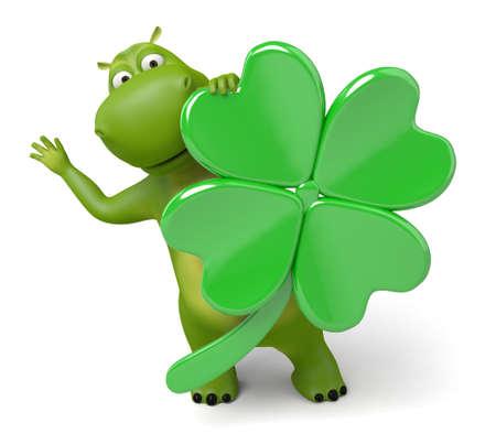cartoon shamrock: 3d cartoon animal with a clover