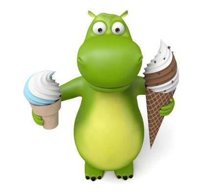 3D-cartoon dier met een ijsje