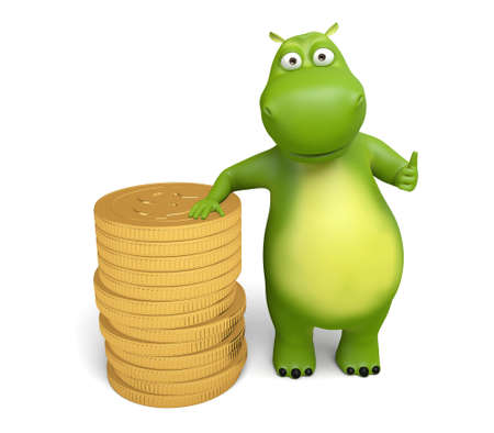 increment: 3d cartoon animal with a lot of coins