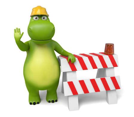 zoo traffic: 3d cartoon animal with a roadblock