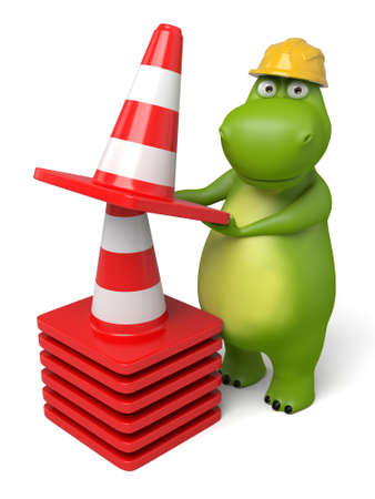 roadwork: 3d cartoon animal with some barricades Stock Photo